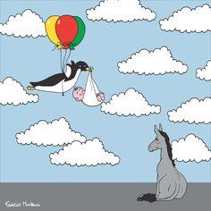 "Donkey ""Tino"" observes the penguin stork by Federico Monzani"