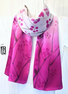 Hand Painted Silk Scarf Pink Silk Scarf. Pink Gray Ombre Plum Blossoms Japanese Scarf. Silk Charmeuse Scarf. 8x52 in.