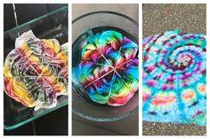Eissterben … - Fabric Crafts No Sew Tie Dye Crafts, Crafts To Do, Jar Crafts, Tye Dye, Ice Tie Dye, How To Tie Dye, How To Dye Fabric, Tie Dye Folding Techniques, Tie Dye Party