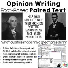Lincoln & Washington Paired Texts for Argumentative, Opini