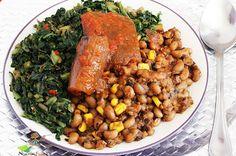 Stir-fried Green Veggies with Beans and Corn Porridge(Adalu)