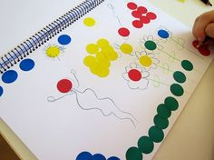 Using a simple, no mess drawing prompt for kids, encouraging them to create open ended art.
