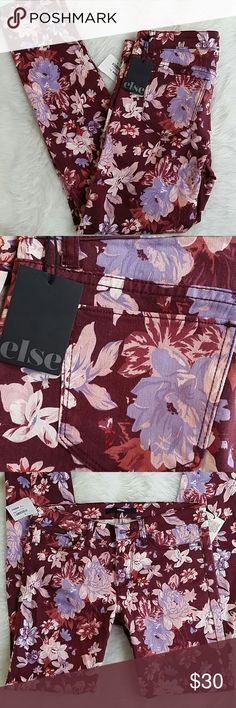 """Else Floral Skinny Jeans I adore this burgundy color for the fall and holidays! Else violet floral skinny jeans - size 28 - 2% spandex, so there's a little stretch - 30"""" inseam - 8.5"""" rise J270988 Else Jeans Skinny"""