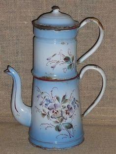 Vintage French Enamelware Coffee Biggin Pot C 1920 Japy Pansies Design | eBay