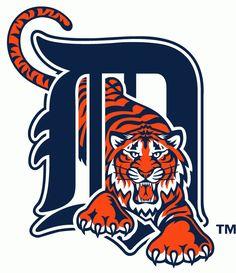 Detroit Tigers Primary Logo (1994) - Orange tiger walking through calligraphic D in navy