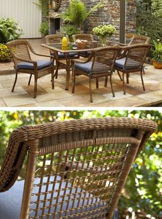 The Spring Haven Collection by Hampton Bay is great for the patio, porch or sunroom. The table and chairs combine a sturdy, rust-resistant steel frame with all-weather resin for many seasons of enjoyment.