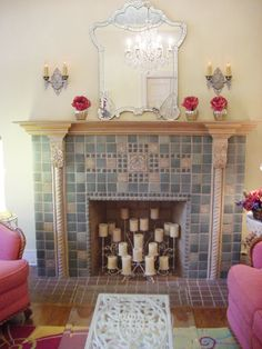 Mod Vintage Life: Anatomy of a Fireplace covet covet covet!! this is not an old fireplace but a new one created with a few true period tiles from the 20's and handmade field tiles with faux finished wood. Must try someday