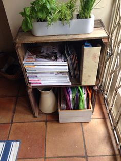 Two old Apple boxes on top of one another make a brilliant storage idea for magazines