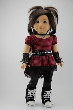 """American Girl doll clothes - 4 piece punk style outfit (fits 18"""" doll) (443red)"""