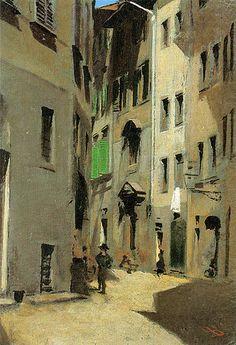 "Signorini, Telemaco (1835-1901) - 1870c. Via Torta, Florence  TELEMACO SIGNORINI (Firenze 1835 e lì vi muore nel 1901).   ""Macchiaioli"" Painters    #TuscanyAgriturismoGiratola"