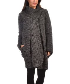 Another great find on #zulily! Black & Gray Textured Asymmetric Wool-Blend Coat #zulilyfinds