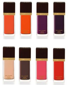 So my fashion crush, Tom Ford, debuted this gorgeous line of nail polish recently. How pretty are these colors? They don't run cheap though, obviously. Try $30 a bottle.