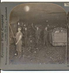 Coal Miners deep in mine Flame Headlamps Scranton PA Stereoview 1905