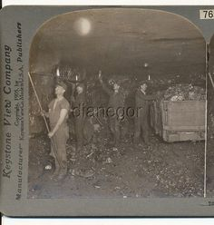 Coal Miners deep in mine Flame Headlamps Scranton PA Stereoview 1905