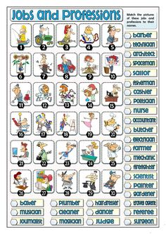 Thirty jobs and professions for students. They match the names of these jobs and professions to the pictures given. It can be used as a reinforcement.