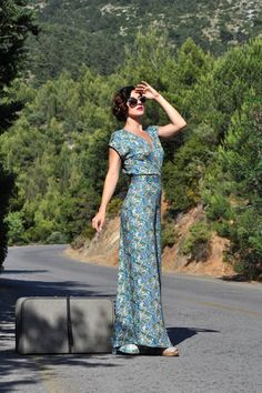 Floral Jumpsuit  By Le Mouton Bleu #handmade #jumpsuit #stylish #elegant #floral #vintageinspired
