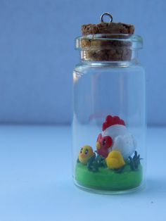 Harvest Moon Chicken and chicks mini glass jar charm by ClayKeep