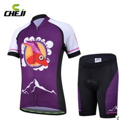 New CheJi Kid Cycling Bike Bicycle Short Sleeve Jersey + Shorts Set M-XXL Purple
