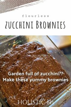 Delicious way to use those zucchinis in your garden! Packed with nutrients, you can mix them up in minutes. Make sure to pin this post so you can find the recipe when you need it. #holisticish #zucchinirecipes #healthydesserts Gluten Free Sweets, Dairy Free Recipes, Baking Recipes, Real Food Recipes, Healthy Snacks, Healthy Eating, Zucchini Brownies, Delicious Desserts, Yummy Food
