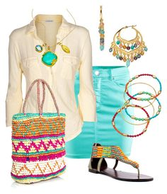 Denim de colores by outfits-de-moda2 on Polyvore featuring moda, James Perse, H&M, Diba, Sensi Studio, Lauren Ralph Lauren, Nugaard Designs and Indulgems