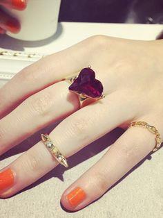 Golden Heart Stone Open Finger Ring Pack | Choies