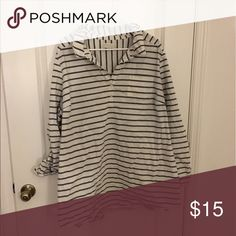 Button Shirt Ivory with Gray stripes. Work twice. Kept in storage. Great condition Forever 21 Tops Button Down Shirts