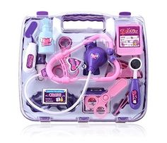 Deluxe Puzzle Simulation Medicine Box Doctor Toys Set Kids Pretend Play Doctor Set Doctor Nurse Medical Kit Playset for Kids Child Care Box Doctor Tools Toys - Purple ** Want to know more, click on the image.
