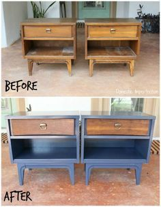 Nightstand Makeover In Six Easy Steps These Nightstands Are Awesome I Love Furniture That Includes Paint And Wood Great Color Too Diy Furniture Renovation, Cheap Furniture Makeover, Diy Furniture Table, Painting Wooden Furniture, Painted Bedroom Furniture, Refurbished Furniture, Repurposed Furniture, Rustic Furniture, Furniture Plans