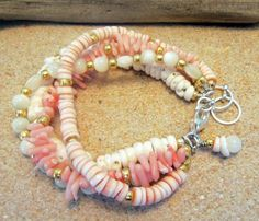 4 Strand Puka Shell Mother of Pearl Heishi Red Lip by JanaJewelry, $49.99