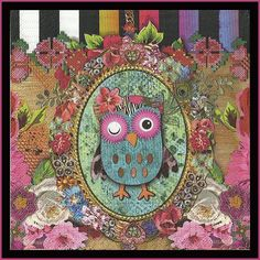 4 Napkins Owl Paper Decoupage Napkins Use For Crafts, Mixed Media, Scrapbooking, Collage And Altered Art Projects