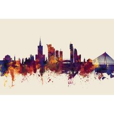 East Urban Home Skyline Series: Warsaw, Poland Graphic Art on Wrapped Canvas in Beige Size: Warsaw Poland, Wood Bars, Wrap Style, 5 D, Wrapped Canvas, Graphic Art, Vibrant, Tapestry