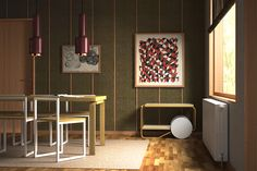 """Tales from Interactive Media for Interior Design – best works of the week! Architetture: """"the Aalto house"""" Alvar Aalto – helsinki, finland 1935-36 Furniture: Fronzoni 64 chair, A. G. Fronzoni 1964 – extension table 97, Alvar Aalto 1956 – A110 lamp, Alvar Aalto 1952 – Tea trolley 901, Alvar Aalto 1936 Modeling and rendering by Manuela Pizzuti. Toys: 3DS Max, Maxwell render, Photoshop"""