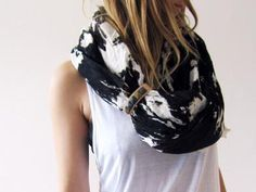 Scout Lasso Scarf Black and White @ Revolver    http://www.revolversf.com/collections/tops/products/scoutlassoscarfblackandwhite