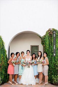 mix-n-match bridesmaids | CHECK OUT MORE IDEAS AT WEDDINGPINS.NET | #bridesmaids
