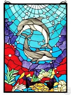 DOLPHIN DANCE Stained Glass Window 16x22 OCEAN Coral REEF Swimming FISH