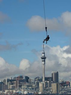 Bungy jumping off the Harbour Bridge, Auckland, New Zealand