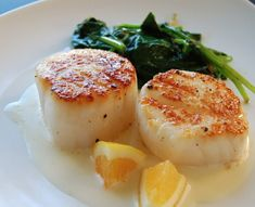 Seared sea scallops with meyer-lemon tarragon cream. Fresh scallop season is Oct - March.  They are rich in B-12 (which is good for your blood vessel walls) and Omega-3 (keeps your blood flowing smoothly) and magnesium (helps keep your blood pressure down).