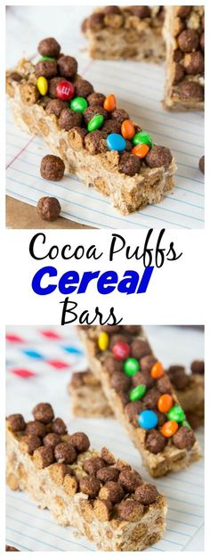 Cocoa Puffs Cereal Bars – a great no bake bar that you can make in minutes.  Grab for an on the go breakfast, pack in your lunch, or for a quick snack.: