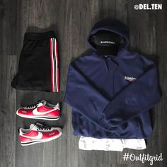 "8,050 Likes, 63 Comments - Outfitgrid™ (Outfit Grids) on Instagram: ""Today\'s top #outfitgrid is by Dan Lunderville.ten. ▫️ #Balenciaga #Hoodie & #Hat ▫️ #Bershka #TrackPants ▫️…"""