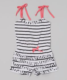 Love this White Stripe Ruffle Tie Romper - Infant, Toddler & Girls by Longstreet on #zulily! #zulilyfinds