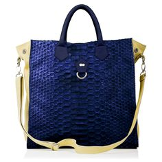 #Business #Bag TONI in Berry #Blue Python #Leather with sides and strap in #Yellow Pastel Goat Leather