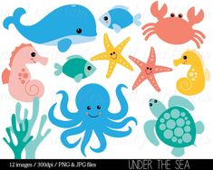 Sea Animal Clipart Under the Sea Baby Sea by mintprintables