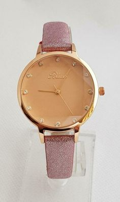cd36a7f4724a LADIES BLUSH WATCH PINK CUT GLASS FACE Pink Diamante Dial   Strap Rose Gold  Case