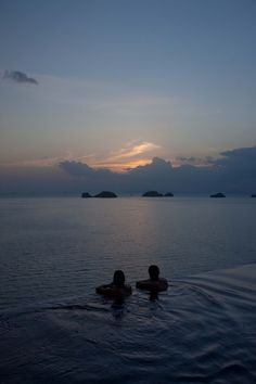 Conrad Koh Samui - Enjoying the sunset view from our private infinity pool.