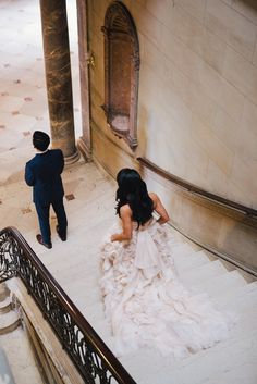 First look on the grand staircase at Jane & Jeff's Alder Manor Wedding   Sweet Little Photographs