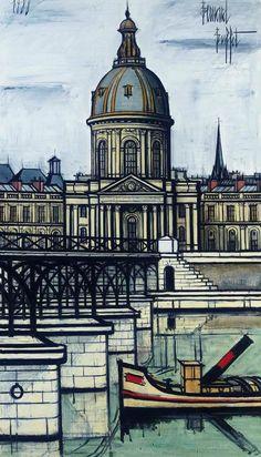 Artwork by Bernard Buffet, Académie Française, Made of oil on canvas Emil Nolde, Cityscape Drawing, Deco Paris, Pont Paris, Chaim Soutine, Illustrator, Fantasy Castle, Art Moderne, French Artists