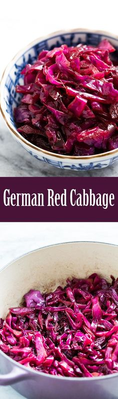 Braised Sweet and Sour Red Cabbage, German-style! Only 4 ingredients, so easy to make. Perfect with to serve with pork. Gluten free too. On SimplyRecipes. German Red Cabbage Recipes, German Recipes, Austrian Recipes, Bavarian Recipes, French Recipes, Side Dish Recipes, Vegetable Recipes, Comida Keto, Vegetable Side Dishes