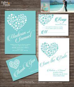 Beach Wedding Invitation printables, Destination wedding, Heart invitation, Customized DIY wedding, coral, turquoise, sea shell