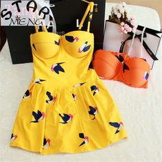 18.83$  Buy here - http://aliozu.shopchina.info/go.php?t=32607007146 - STAR MENG Korean Wave Point Bird Vintage Skirt Piece Small Chest Steel Support Gather Swimsuit Female Conservative Spa 18.83$ #bestbuy