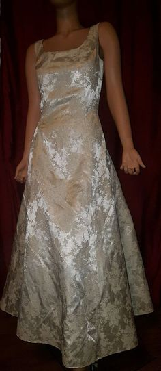 a79d186fdaa VTG JESSICA MCCLINTOCK Gunne Sax Ivory Brocade A Line Wedding Dress Gown 9  10